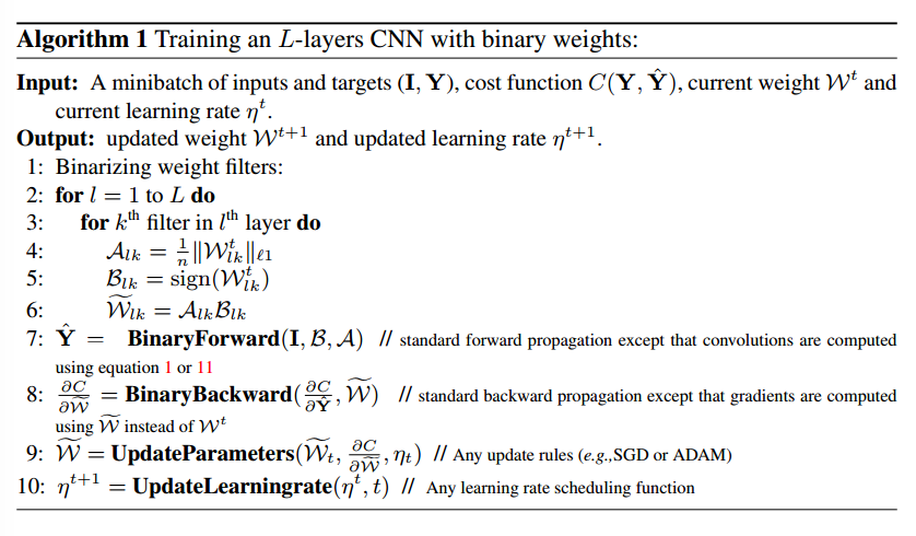 Binary-Weight-Net training cycle
